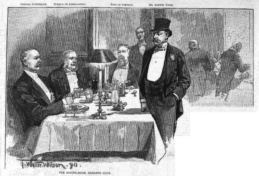 In Clubland the Carlton.Illustrated London News (London, England), Saturday, May 24, 1890; pg. 649; Issue 2666 - dining room